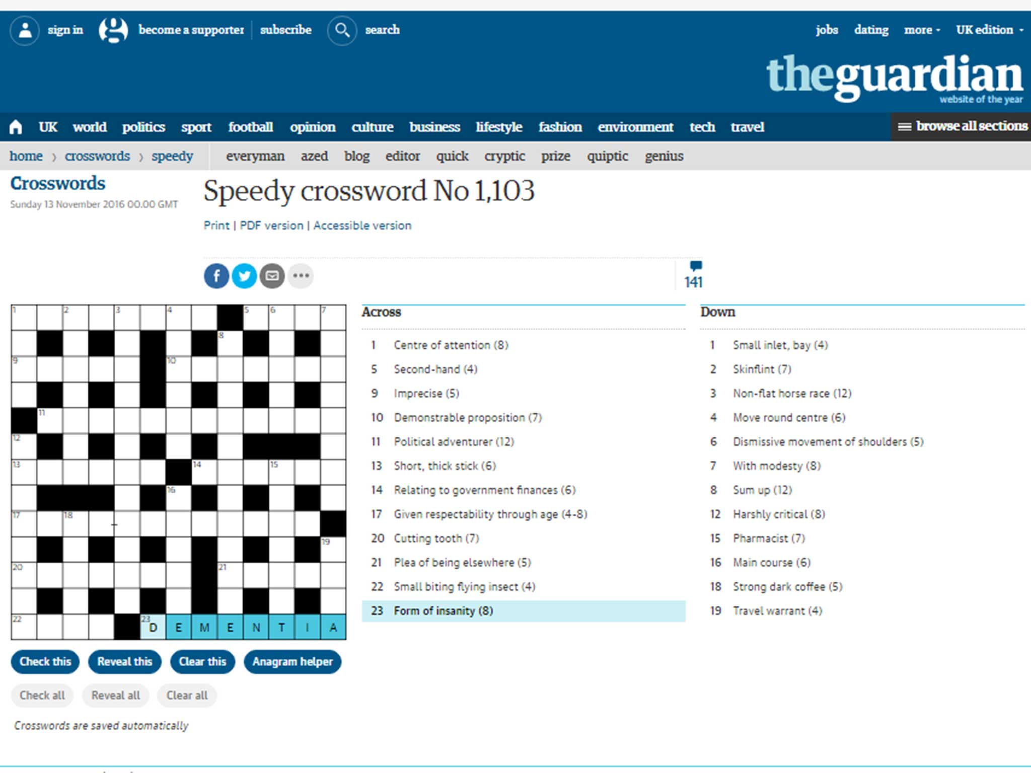 Inkl Guardian Crossword Labels Dementia A Form Of Insanity The Independent Uk
